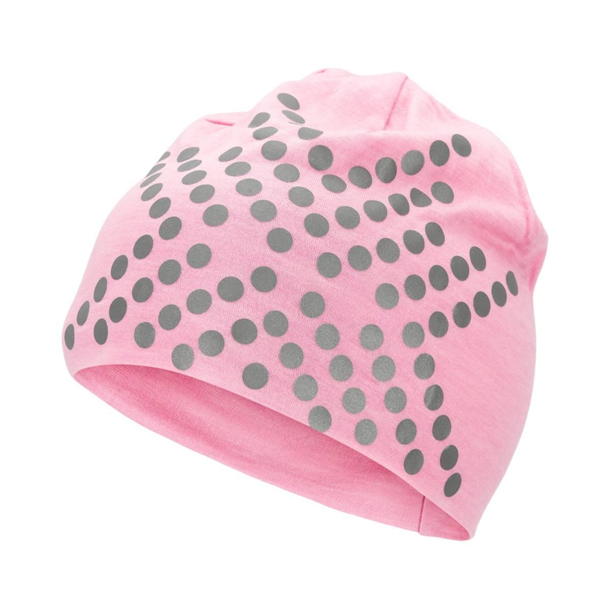 Morild Sølvfaks lue med refleks, lys rosa