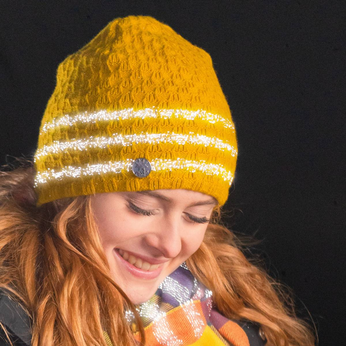 Morild Mork lue med refleks, gul