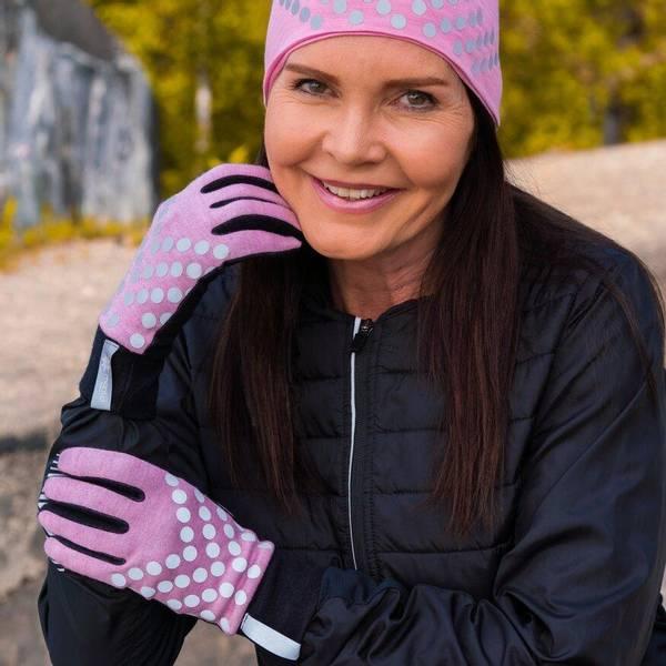 Bilde av Morild Sølvfaks hansker med refleks, lys rosa