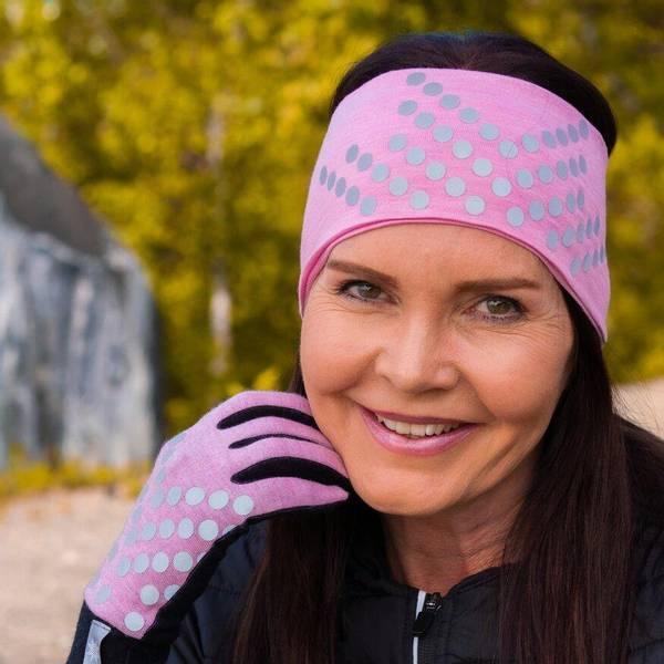 Bilde av Morild Sølvfaks pannebånd med refleks, lys rosa