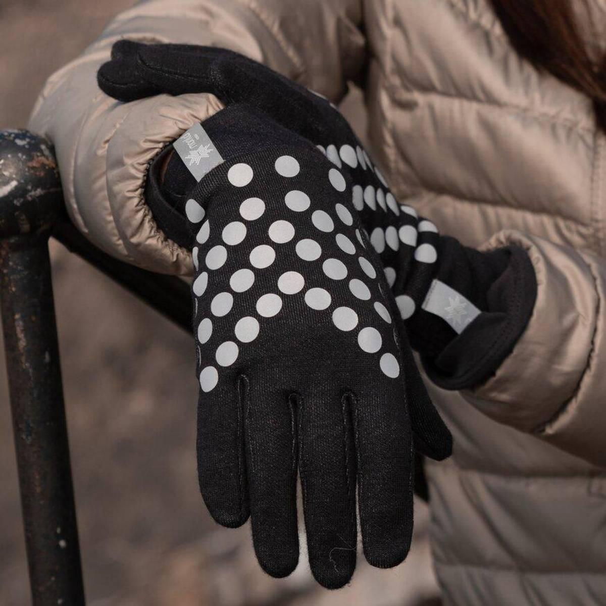 Morild Sølvfaks hansker med refleks, sort
