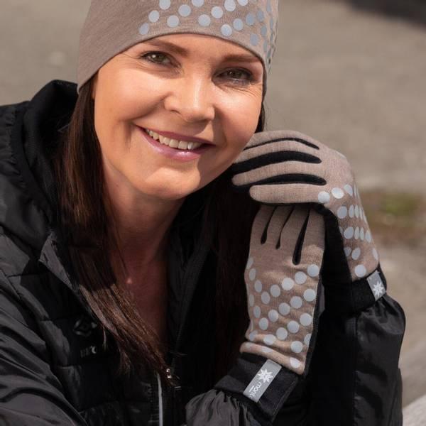 Bilde av Morild Sølvfaks hansker med refleks, støvbrun