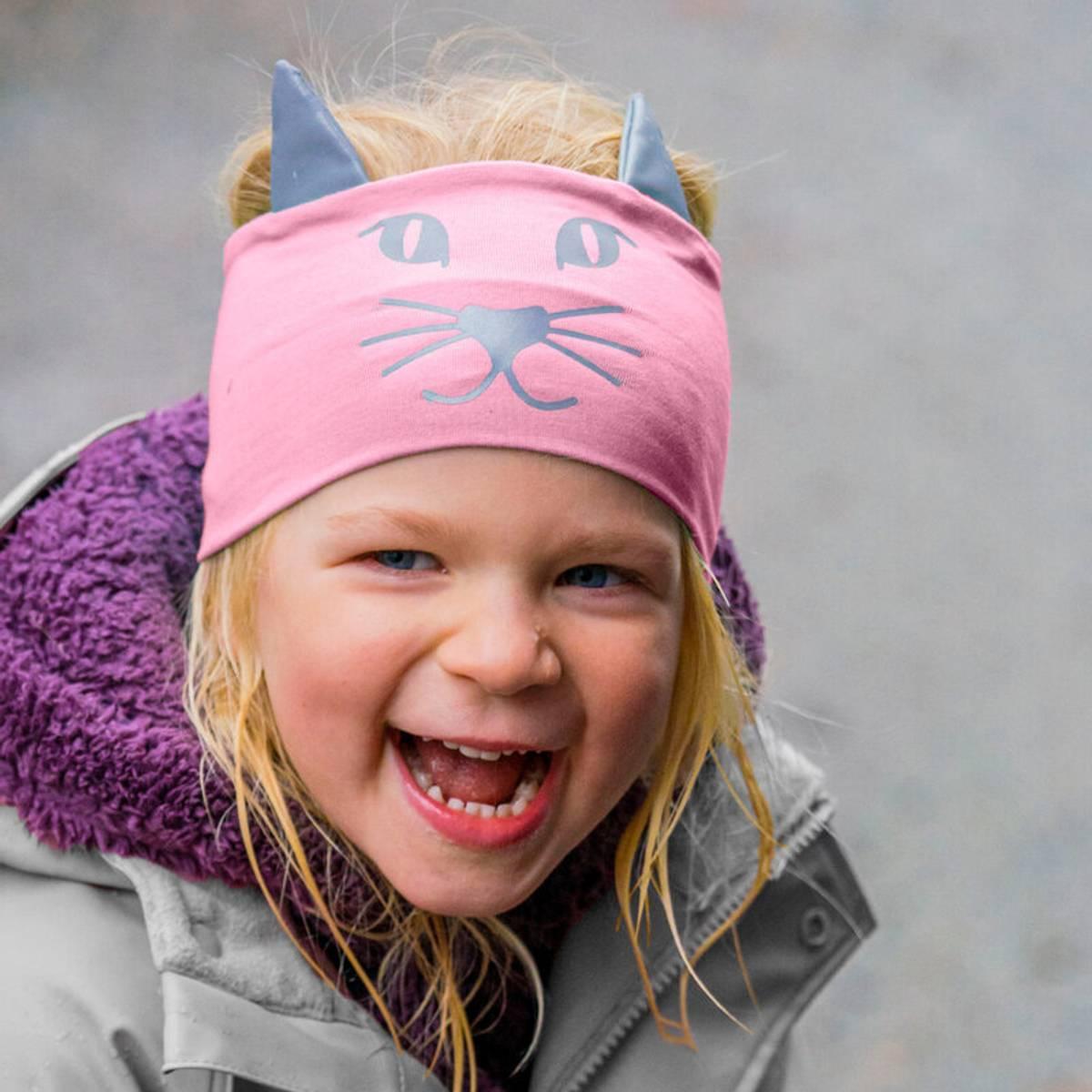 Morild Funkle pannebånd med refleks, pudderrosa kattepus