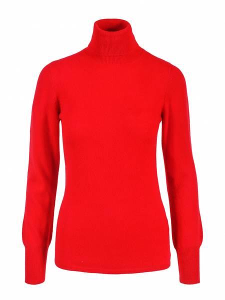 Bilde av Rød cashmere genser m/høy hals