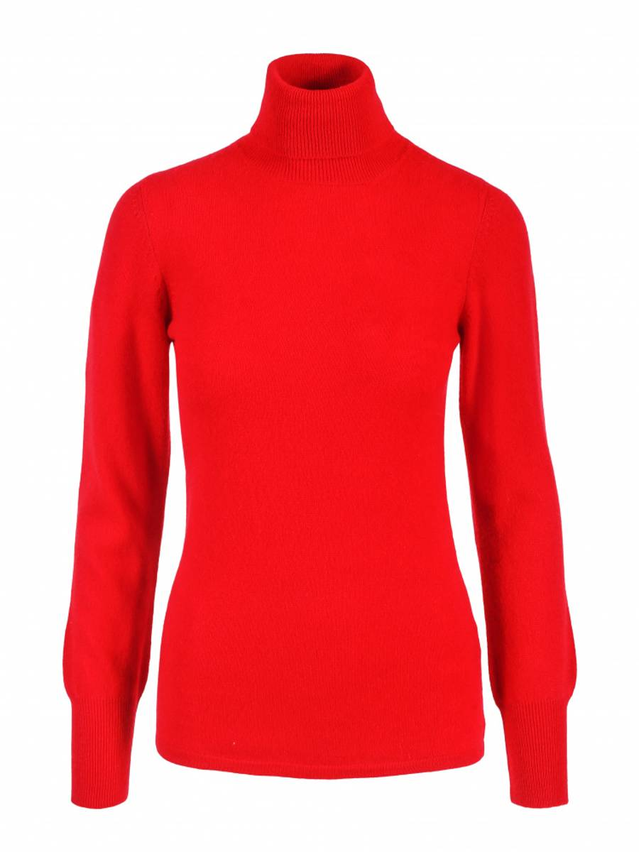Rød cashmere genser m/høy hals