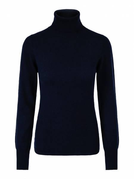 Bilde av Marineblå cashmere genser m/høy hals