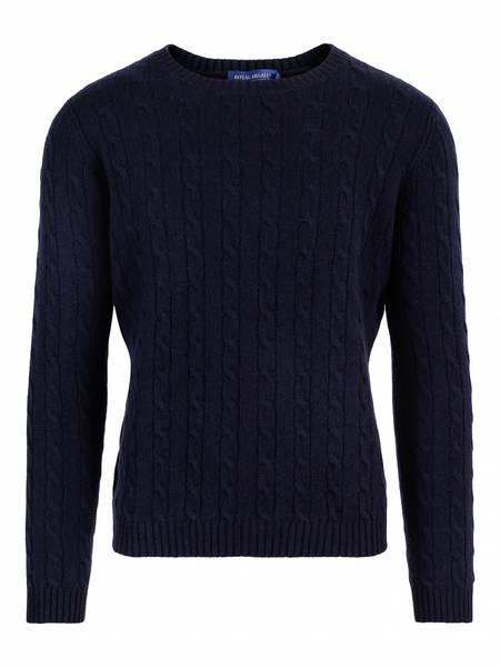 Bilde av Marineblå Cabel cashmere genser