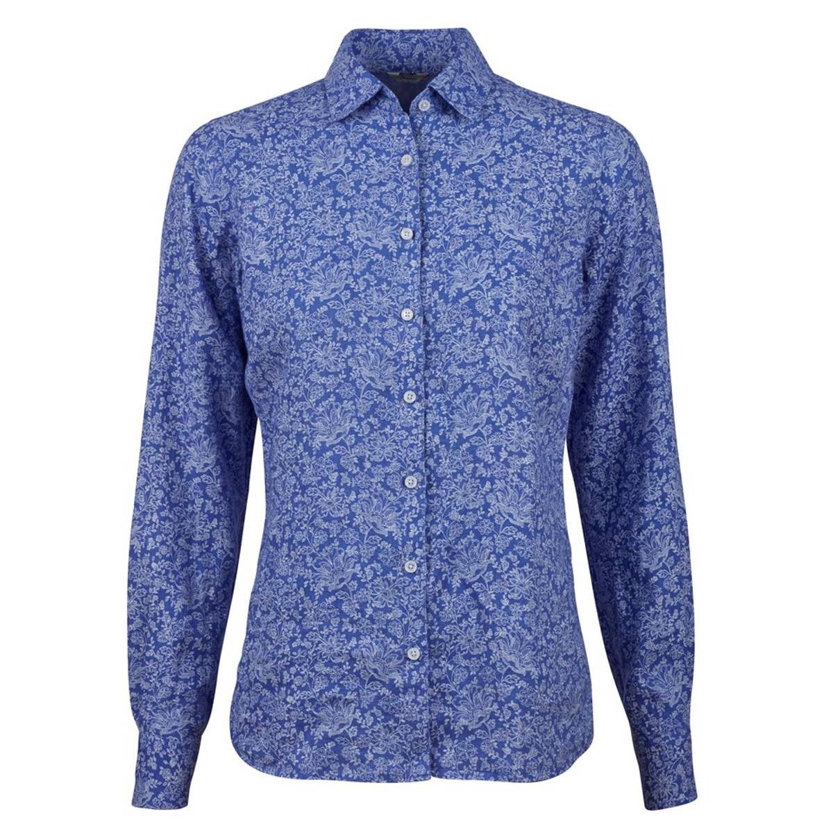 Blue Floral Feminine Linen Shirt