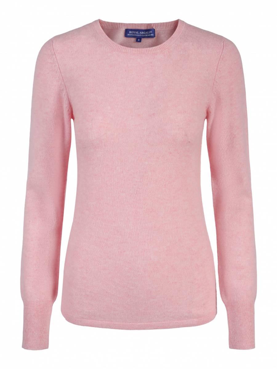 Pink Marl cashmere genser m/rund hals