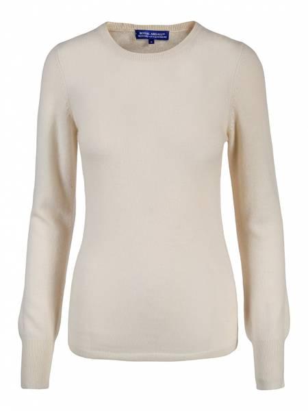 Bilde av Hvit cashmere genser m/rund hals