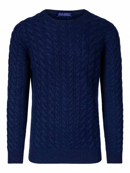 Bilde av Mellert blå cabel Cashmere genser 4 ply.
