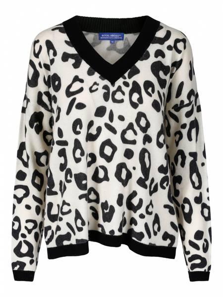 Bilde av Animal print cashmere v genser