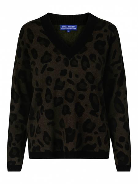 Bilde av Animal print Army cashmere v genser