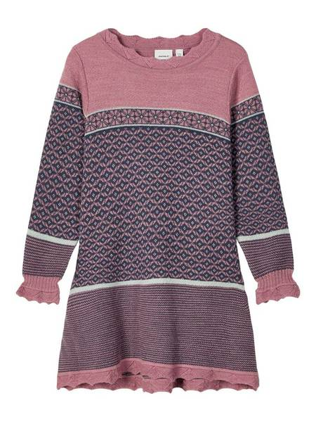 Bilde av Nmfwhoopi wool knit ls dress - nostalgia rose
