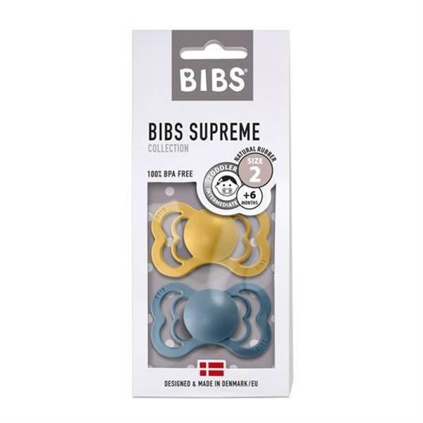 Bilde av Bibs Supreme 2-pk Silikon Sutt - Mustard/Petrol