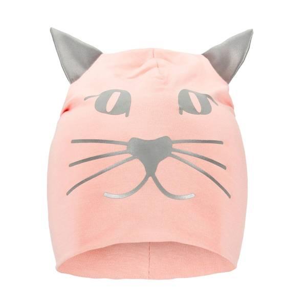 Bilde av Funkle lue med refleks - Pudderrosa kattepus
