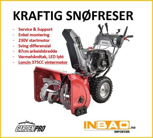 Kraftig 13HK snøfreser - hjuldrevet - 230V el.start