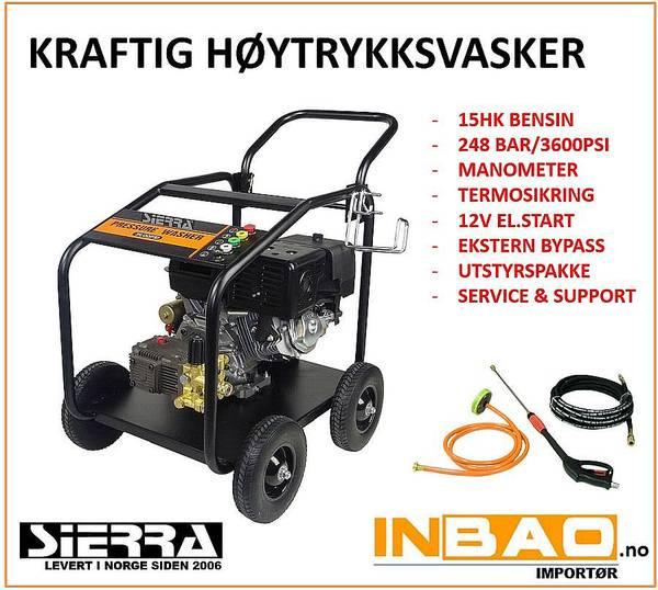 UTSOLGT Høytrykksvasker el.start - Bensindrevet 248bar - 1240ltr