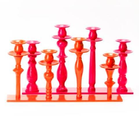 Bilde av Lysestake til 4 lys, rosa