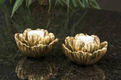 Bilde av Blomsterblad lysestake gull