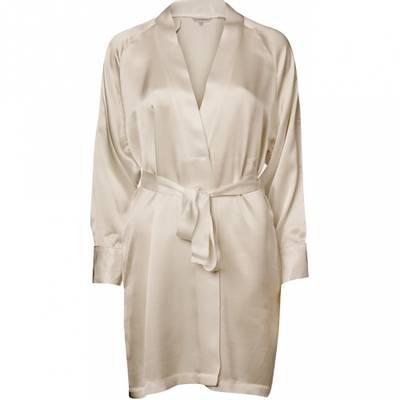 Bilde av Kort silke kimono champagnefarget
