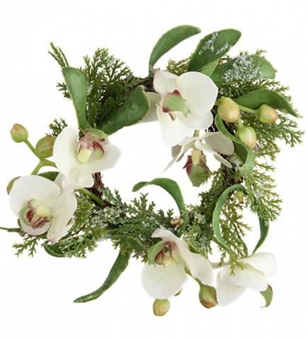 Bilde av Lysmansjett hvit og burgunder orkide 8 cm