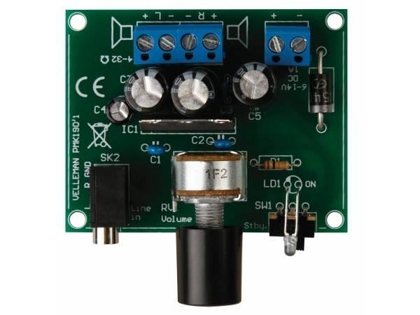 Velleman MK190,  2x5W forsterker til MP3 spiller, elektronik-kit