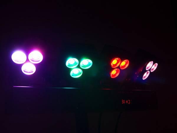 Scenelys pakke LED KLS-30. Komplett scenelys/discolys med 4 lamp
