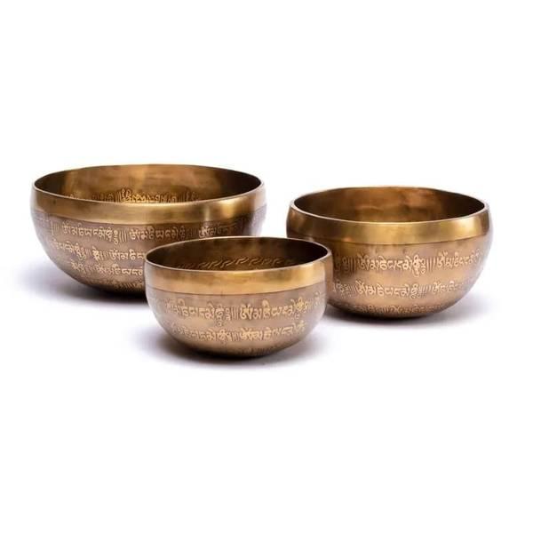 Tibetansk syngebolle håndlaget med inngravering 1850-2150gr