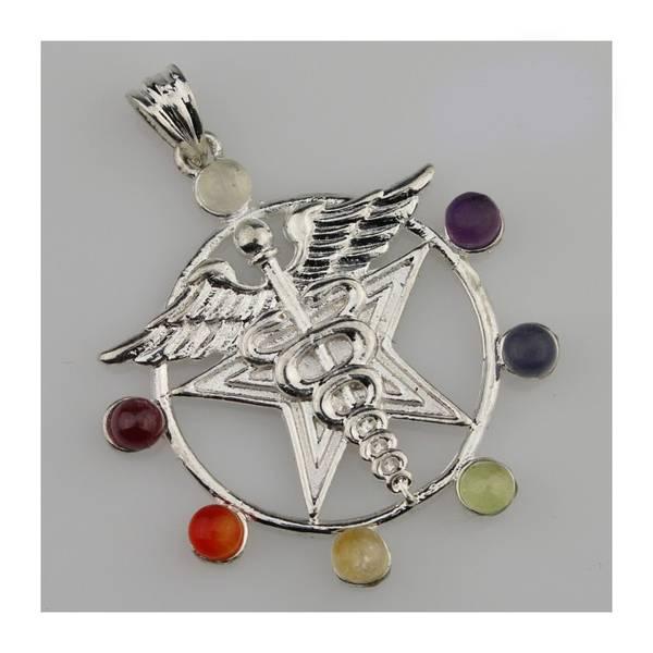 Chakra anheng Caduceus forsølvet med ekte krystaller