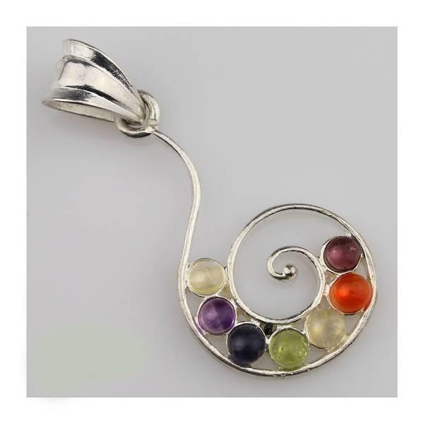 Chakra anheng Spiral forsølvet med ekte krystaller