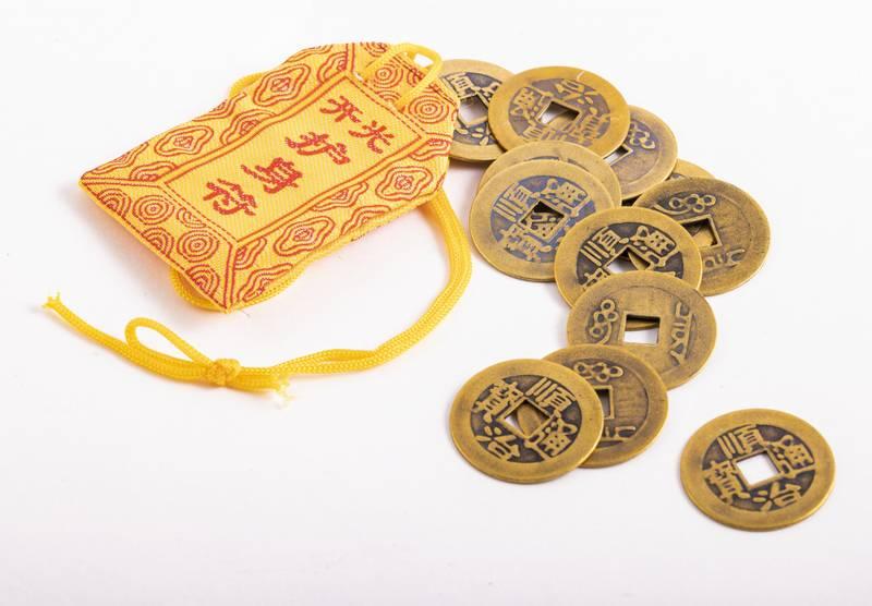 Kinesiske lykkemynter 12 stk Feng Shui