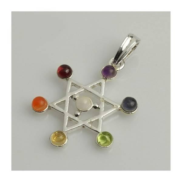 Chakra anheng David Stjerne forsølvet med ekte krystaller