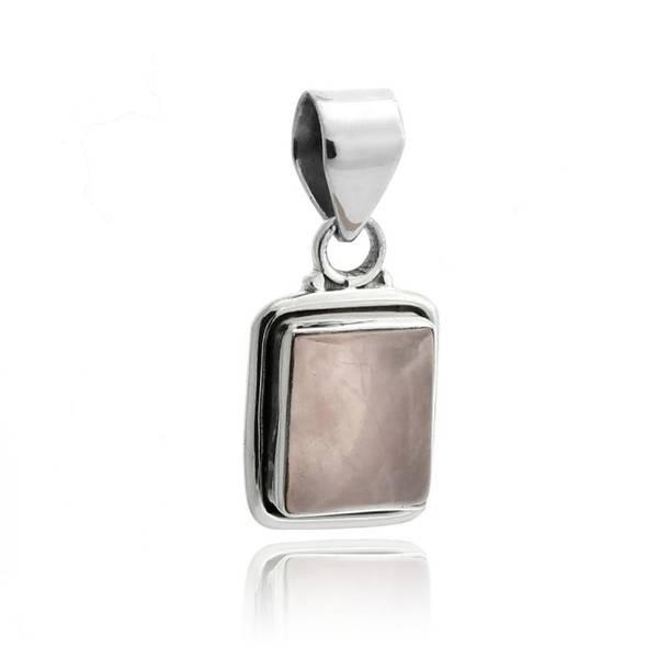 Anheng Rosenkvarts Rektangel i sølv innfatning