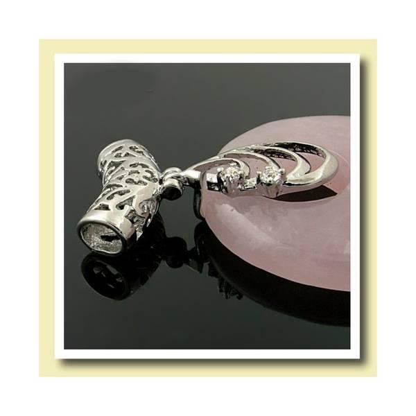 Anheng Rosenkvarts donut - Pi-ring med filigrans sylinder