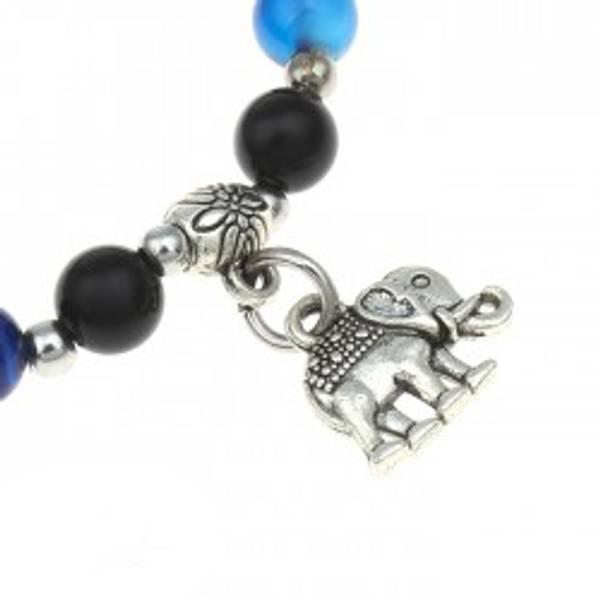 Armbånd Agat Blå farget med Elefantcharm