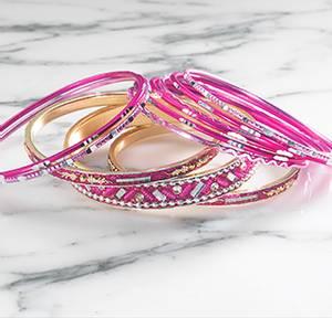 Bilde av Armbånd Sett med 11 rosa -