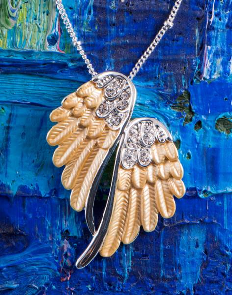 Anheng - Angel wings, gold pendant with 50 cm chain