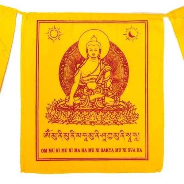 Tibetan prayerflags Buddha Shakyamuni