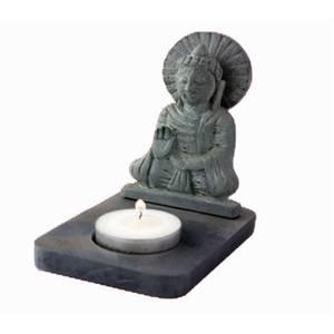 Bilde av Te-lysholder Buddha svart tannstein