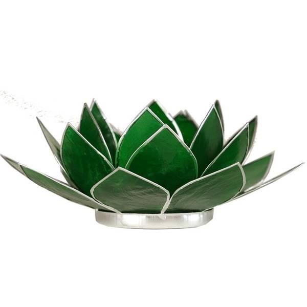 Telysholder / Lotus atmospheric light chakra 4 green silver trim