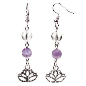 Bilde av Earrings chevron amethyst/rock crystal with lotus