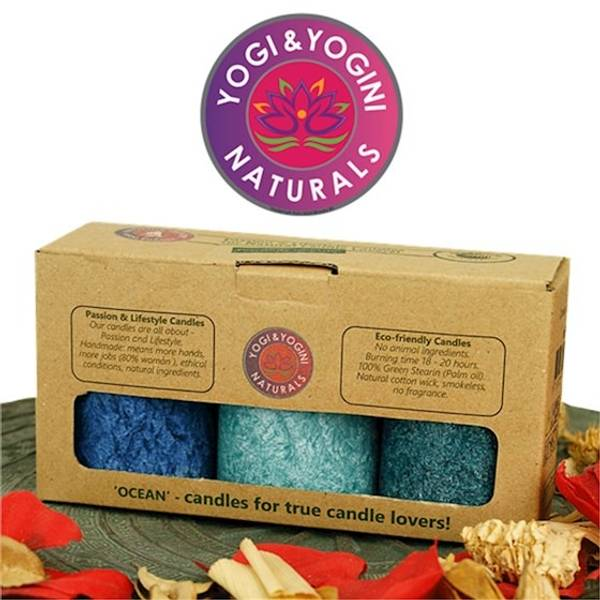 Sustainable stearin candles 3 x OCEAN