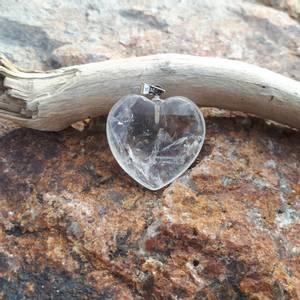 Bilde av Bergkrystall / Clear Quartz Hjerte Anheng 2 cm