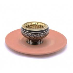 Bilde av Incense burner brass & terracotta dish