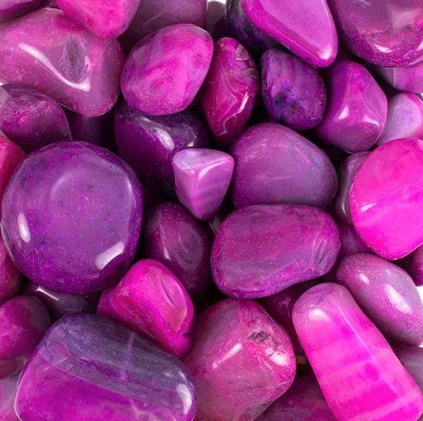 Agat, rosa (F) Tromlet Medium AAA-kvalitet
