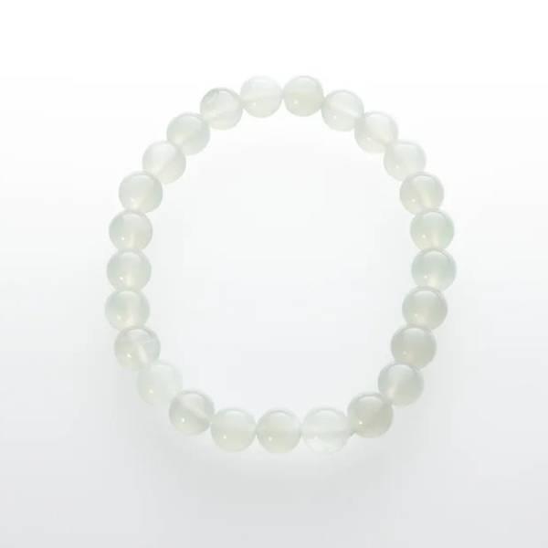 Månestein Armbånd /Moonstone Grey Bead Bracelet  8 mm