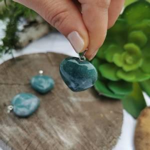 Bilde av Anheng Agat moss hjerte stor 3 cm