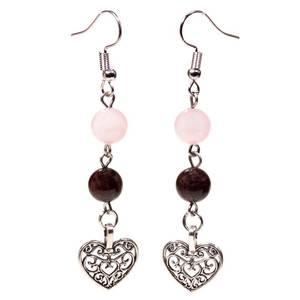 Bilde av Earrings garnet/rose quartz with heart