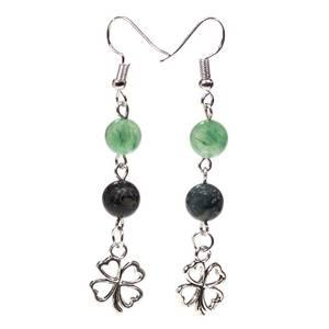 Bilde av Earrings kambaba/green aventurine + clover
